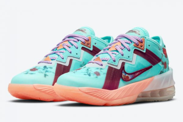 Latest Nike LeBron 18 Low GS Floral 2021 For Sale DN4177-400 -2