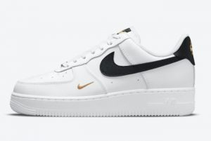New Nike Air Force 1 07 Essential White/Black-Gold For Sale CZ0270-102