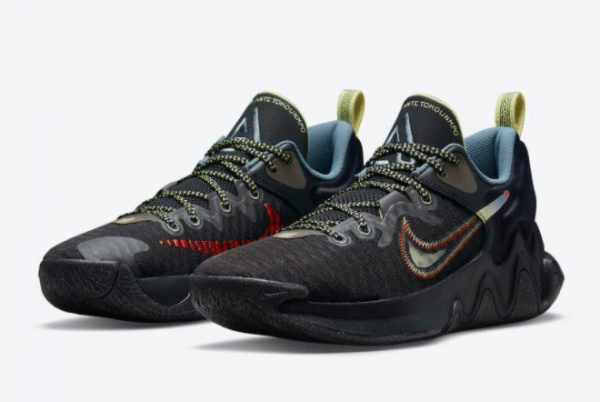 New Nike Giannis Immortality Black/Crimson-Pale Yellow-Blue For Sale DH4470-001-2