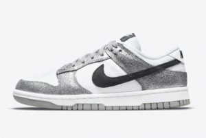 Latest Nike Dunk Low Cracked Leather Silver Black White 2021 For Sale DO5882-001