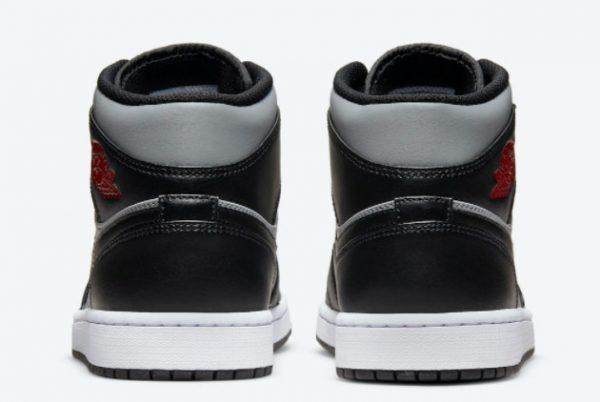 Cheap Air Jordan 1 Mid Black Grey Red 2021 For Sale 554724-096-3