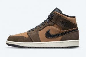 Latest Air Jordan 1 Mid Brown/White 2021 For Sale DC7294-200