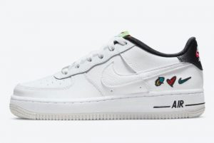 Latest Nike Air Force 1 Low GS Peace Love Swoosh 2021 For Sale DM8154-100