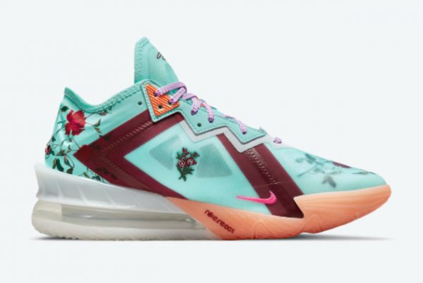 Latest Nike LeBron 18 Low Floral Psychic Blue 2021 For Sale CV7562-400-1