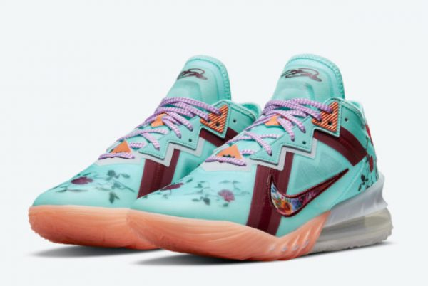 Latest Nike LeBron 18 Low Floral Psychic Blue 2021 For Sale CV7562-400-2