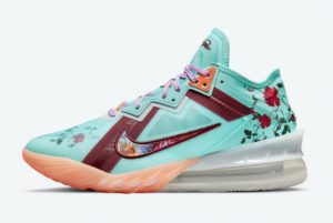 Latest Nike LeBron 18 Low Floral Psychic Blue 2021 For Sale CV7562-400