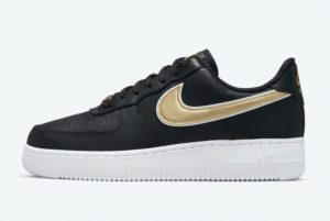 New Nike Air Force 1 Low Black Metallic Gold-White 2021 For Sale DD1523-001
