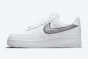 New Nike Air Force 1 Low White Metallic White/Metallic Silver-Black 2021 For Sale DD1523-100