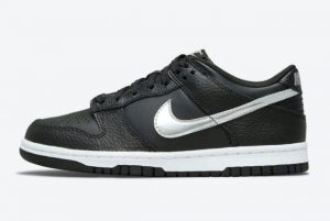 New Nike Dunk Low GS Black Metallic Silver-White 2021 For Sale DC9560-001