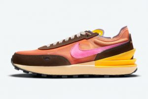 New Nike Waffle One Exeter Edition Orange Pulse Baroque Brown-University Gold-Pinksicle 2021 For Sale DM8114-800