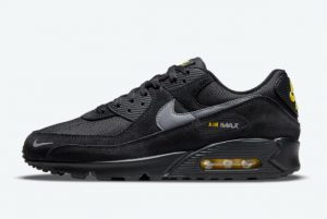 Cheap Nike Air Max 90 Black Yellow Reflective Swooshes 2021 For Sale DO6706-001