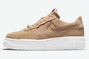 Latest Nike Air Force 1 Pixel Tan Suede Hemp White 2021 For Sale DQ5570-200