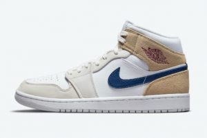 Latest Air Jordan 1 Mid Tan Suede White Tan-Navy 2021 For Sale DO6726-100