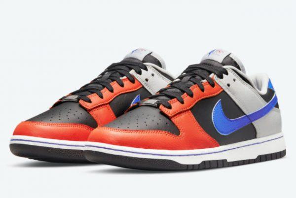 Latest NBA x Nike Dunk Low EMB Knicks Black Racer Blue-Grey Fog-Orange 2021 For Sale DD3363-002-2