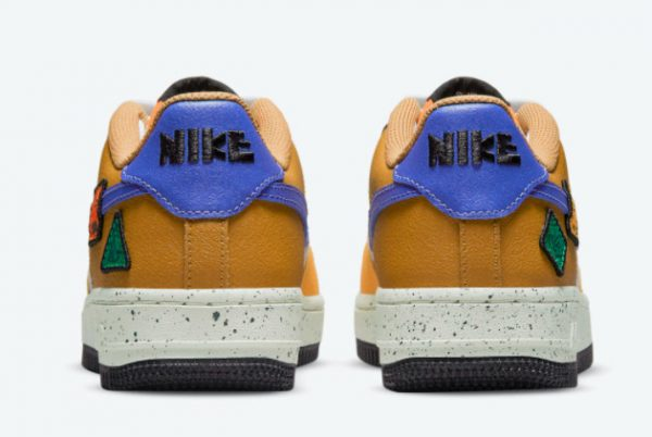 Latest Nike Air Force 1 GS University Gold Light Bone-Starfish Orange-Blue Stone 2021 For Sale DO4657-740-3