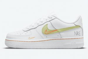 Latest Nike Air Force 1 GS White Bright Crimson-Light Photo Blue-Lime Ice 2021 For Sale DN8000-100