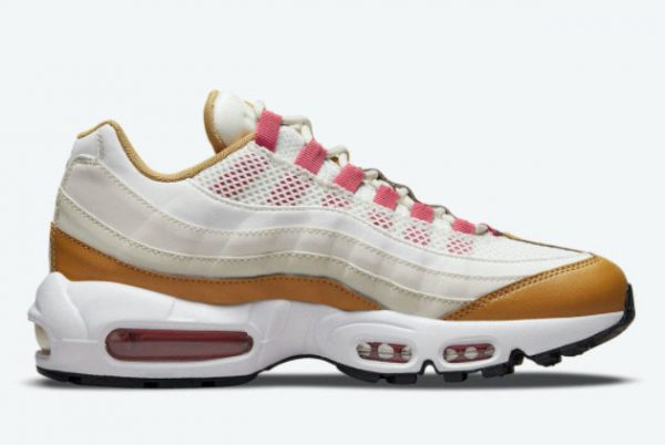 Latest Nike Air Max 95 Powerwall BRS White/Tan-Pink-Green 2021 For Sale DH1632-100-1