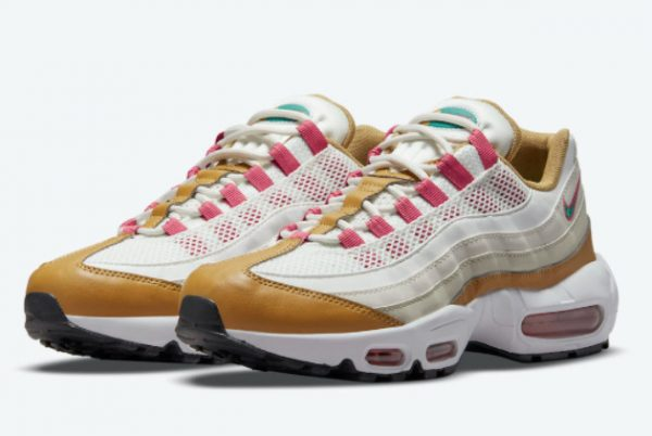 Latest Nike Air Max 95 Powerwall BRS White/Tan-Pink-Green 2021 For Sale DH1632-100-2