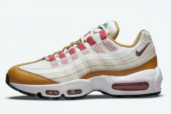 Latest Nike Air Max 95 Powerwall BRS White/Tan-Pink-Green 2021 For Sale DH1632-100