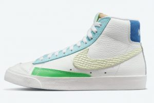 Latest Nike Blazer Mid 77 White/Bright Green-Blue 2021 For Sale DQ0865-100