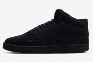 Latest Nike Court Vision Mid Triple Black Black Black-Black 2021 For Sale CU6620-001
