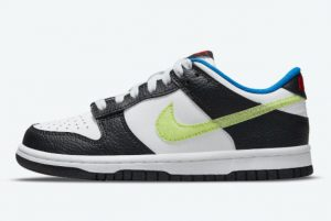 Latest Nike Dunk Low GS Giant Hangtags White Black-Volt 2021 For Sale DQ0977-100