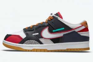 Latest Nike Dunk Low Scrap Black Neutral Grey-University Red-White 2021 For Sale DN1775-001
