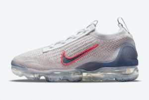 New Nike Air VaporMax 2021 Grey Red Shoes For Sale DC9454-100