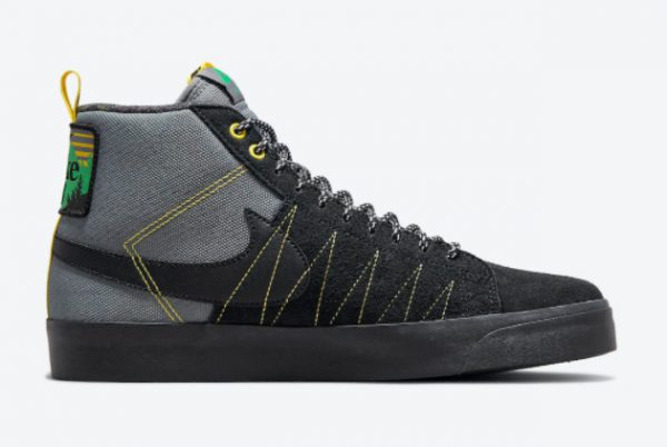 New Nike SB Blazer Mid Premium Acclimate Pack Cool Grey Black-White-Yellow Strike 2021 For Sale DC8903-001-1