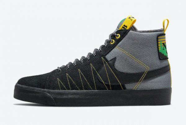 New Nike SB Blazer Mid Premium Acclimate Pack Cool Grey Black-White-Yellow Strike 2021 For Sale DC8903-001