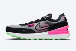 New Nike Waffle One Black Neon Green-Pink 2021 For Sale DM8143-100