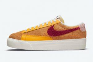 New Nike Wmns Blazer Low Platform Sunset Sunset Rush Maroon-University Gold 2021 For Sale DO6721-700