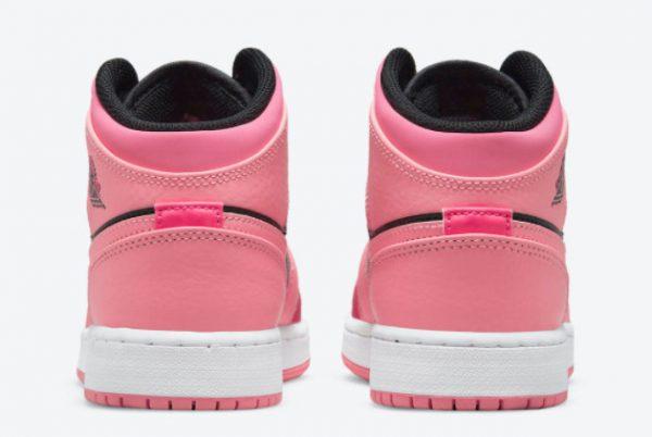 Cheap Air Jordan 1 Mid GS Coral Chalk Coral Chalk Rush Pink-Black 2021 For Sale 554725-662-3