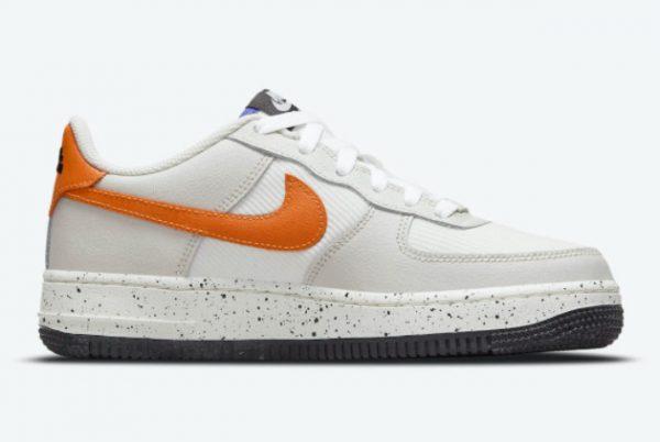 Cheap Nike Air Force 1 GS Light Bone Sail-White-Blue Stone-Starfish Orange 2021 For Sale DO4657-081-1