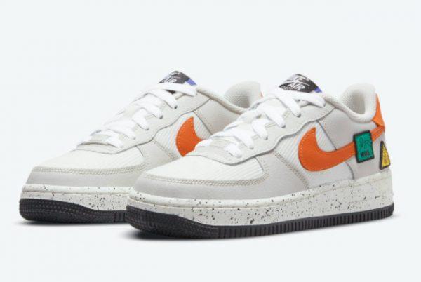 Cheap Nike Air Force 1 GS Light Bone Sail-White-Blue Stone-Starfish Orange 2021 For Sale DO4657-081-2