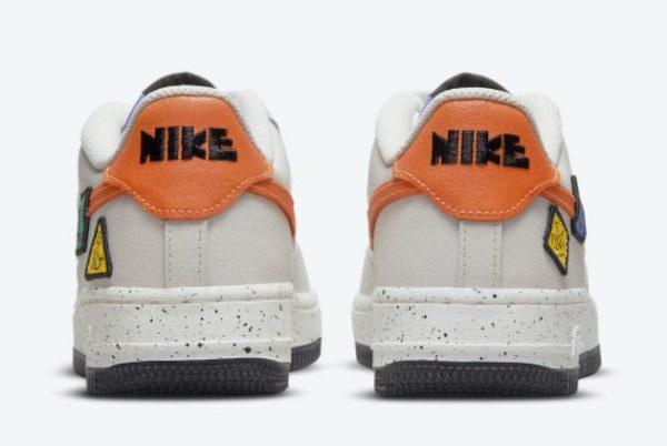 Cheap Nike Air Force 1 GS Light Bone Sail-White-Blue Stone-Starfish Orange 2021 For Sale DO4657-081-3
