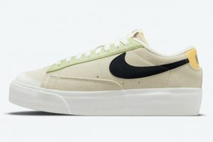 Cheap Nike Blazer Low Platform Beige Yellow Reflective Swooshes 2021 For Sale DQ0884-100
