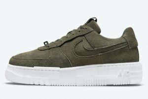 Latest Nike Air Force 1 Pixel Dark Green Suede 2021 For Sale DQ5570-300